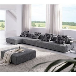 Sectional Sofa By TOSH Furniture  (Grey Zebrano Fabric/Velcro/Hardwood)