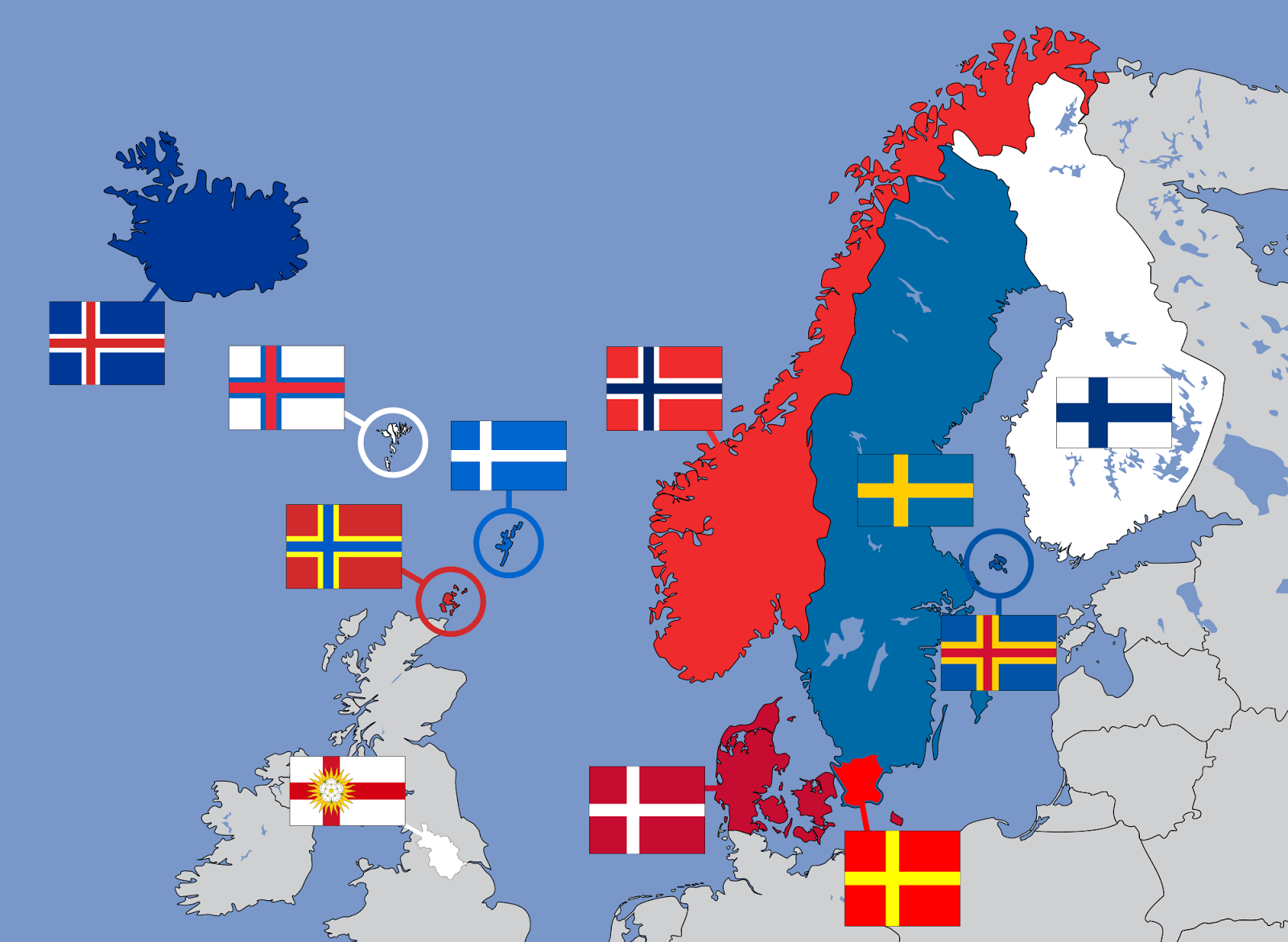 Nordic Cross Flags of Northern Europe