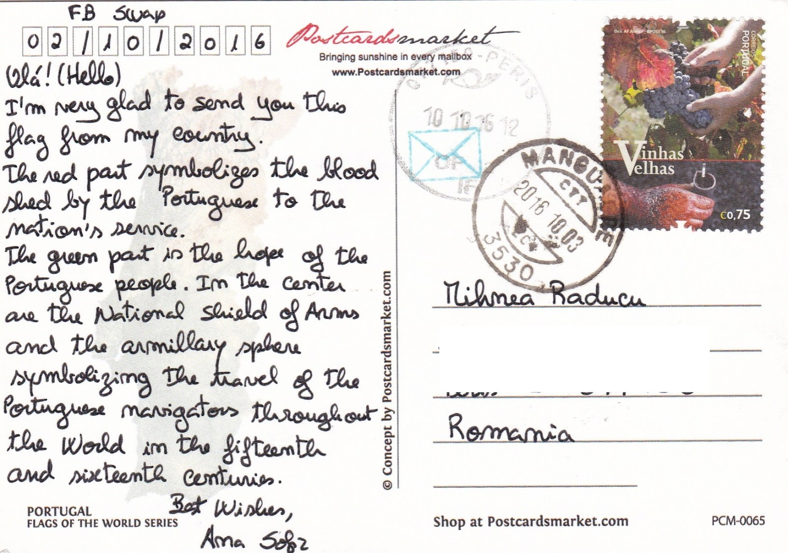World in my mailbox: 0188 Portugal Flag of country FOTW122