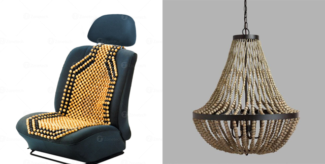 beaded seat cover and beaded chandelier