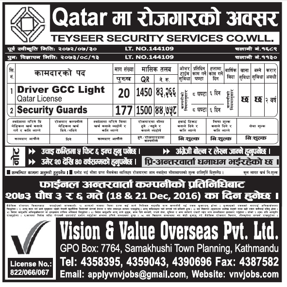 Jobs in Qatar for Nepali, Salary Rs 44,758