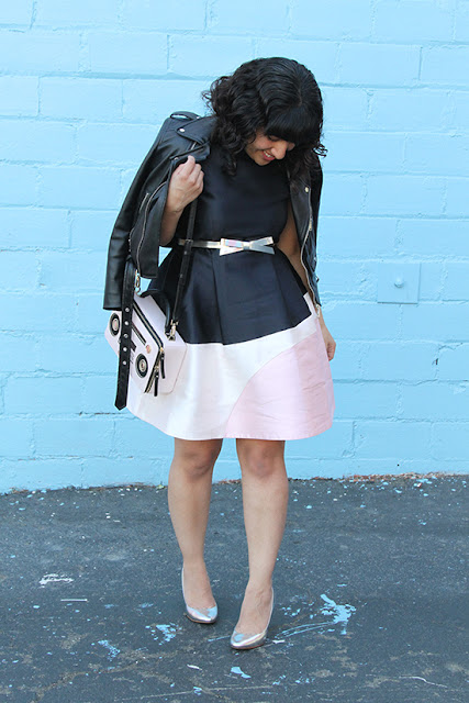 Kate Spade Colorblock Bubble Dress and Boombox Bag Outfit