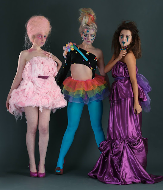 mystic magic, haus of candy, tim burton, dark beauty, witches, fantasy fashion, candy, colourful, behind the scenes, candyfloss, pink, purple, blue,