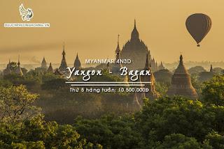 Du lịch Myanmar: Hà Nội - Yangon - Bagan - Popa