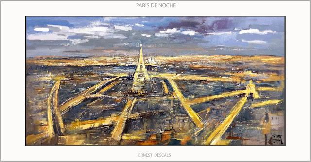 PARIS-PINTURA-TORRE EIFFEL-ARTE-PAISAJES-NOCHE-PINTURAS-NOCTURNAS-CIUDADES-FRANCIA-ARTISTA-PINTOR-ERNEST DESCALS-