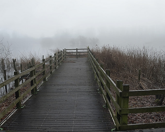 View down jetty into the mist with trees on opposite bank only visible as a slightly darker shade of grey