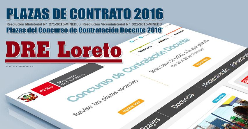 DRE Loreto: Plazas Vacantes Contrato Docente 2016 (.PDF) www.drel.gob.pe