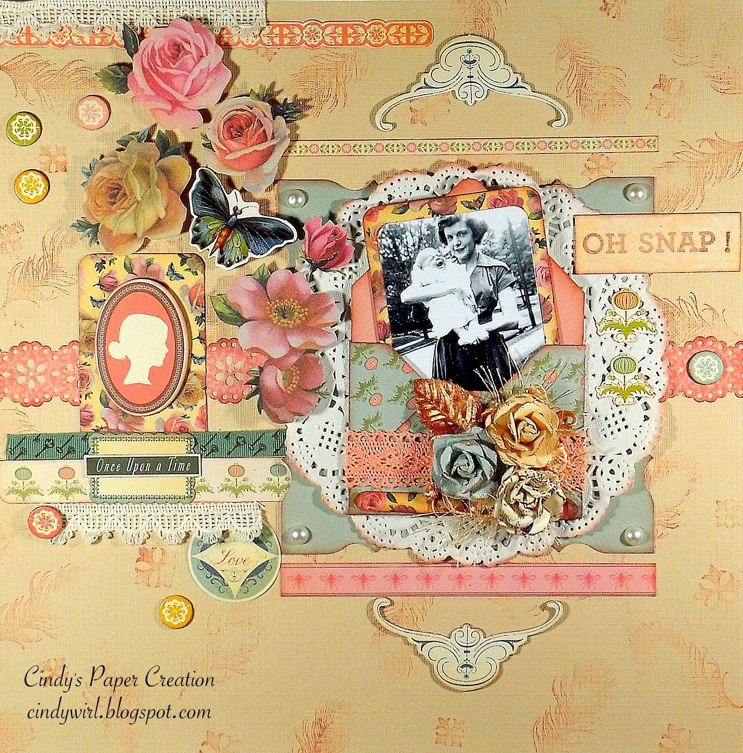 Scrapbooking Layout of Mom and Cindy