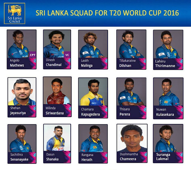 Sri Lanka Squad for the ‪#‎WT20‬ World Cup