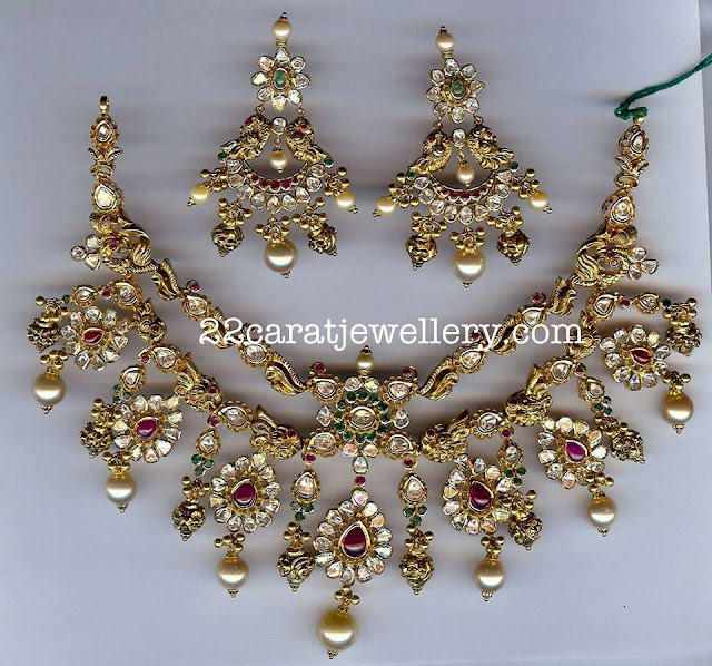Nakshi Pachi Necklace with Chandbalis