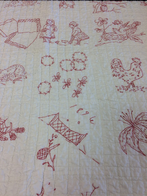 antique redwork quilt