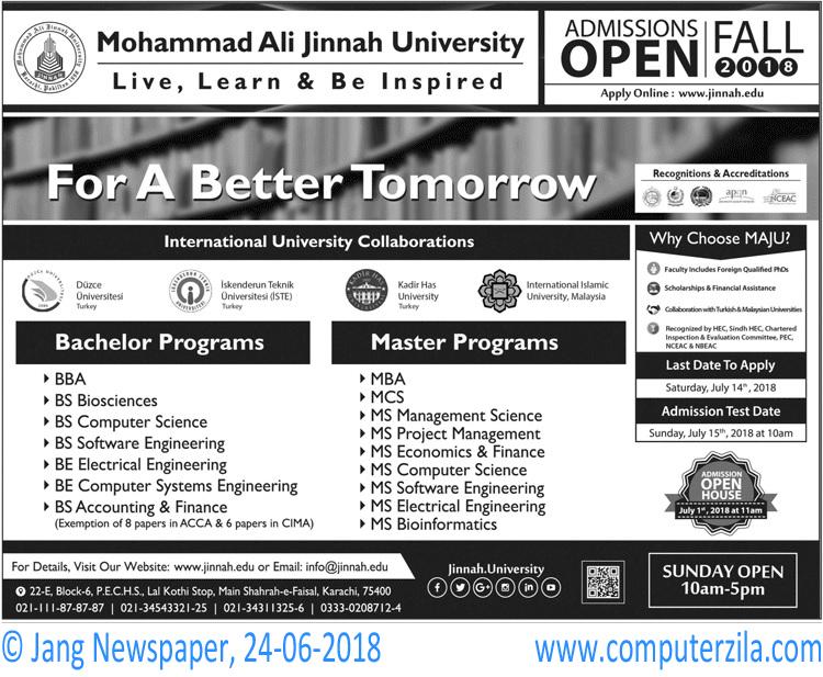 Muhammad Ali Jinnah University Admissions Fall 2018