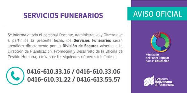 Aviso Oficial: Servicios funerarios del Personal docente, administrativo y obrero del @MPPEDUCACION