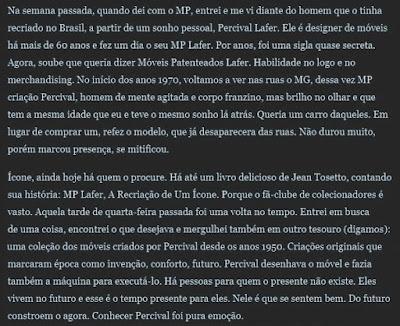 Reprodução de parte da crônica de Ignácio Loyola de Brandão sobre o MP Lafer, publicada originalmente no Estadão.