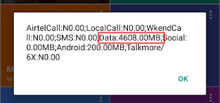 Screenshot showing data balance of 4.6gb(4608mb) data