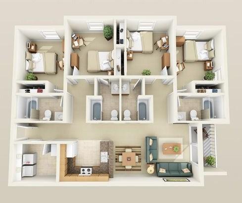 Sketsa Rumah Minimalis 1 Lantai Dengan 4 Kamar Tidur
