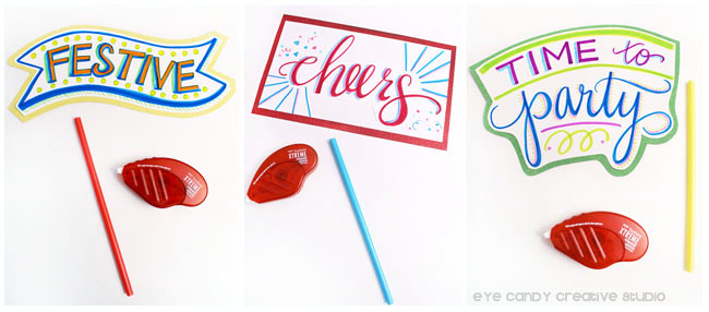 mounting your photo props, tombow adhesive, hand lettered props