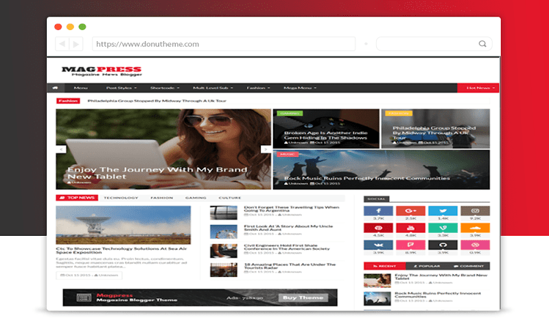 Magpress v3.1 Magazine Blogger Template - Responsive Blogger Template