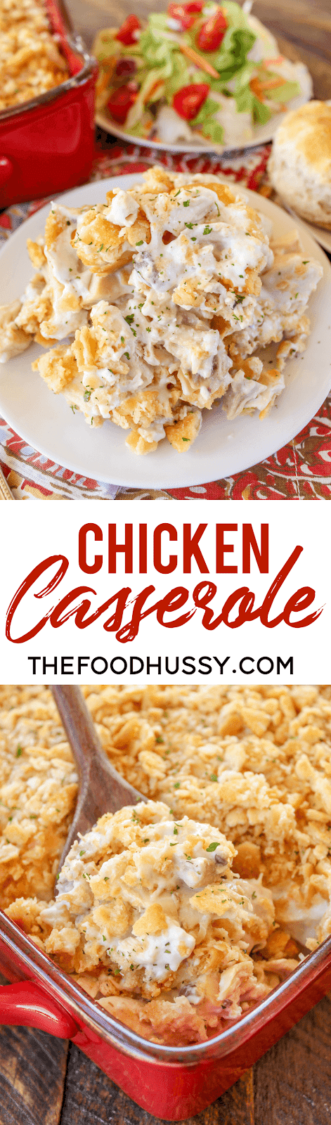 Chicken Casserole - this recipe only has 5 ingredients and is ready in just 30 minutes! It's a favorite for my family and girls night!