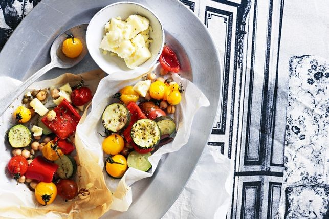 Go Greek for dinner with tender vegetables topped with salty feta and aromatic oregano Mediterranean vegetable parcels recipe