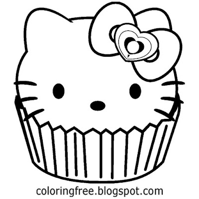Free simple black and white cat image party time cup cake Hello Kitty pictures to color and print