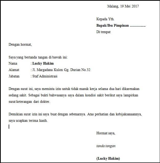 Contoh Surat Izin Tidak Masuk Kerja Tulisan Tangan