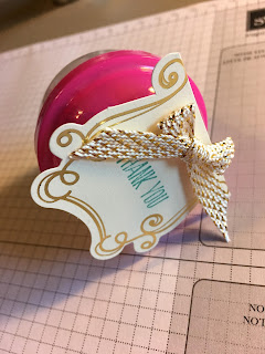 This gumball machine candy containter was a gift at my Weekend Getaway Retreat!  We used Stampin' Up!'s Cupcakes & Carousels Embellishment Kit and Sale a Bration Metallic Ribbon Combo.  #stampinup #stamptherapist www.stampwithjennifer.blogspot.com