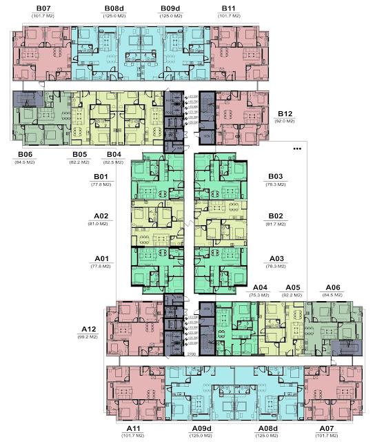 Mặt bằng thiết kế tầng 4 đến 9