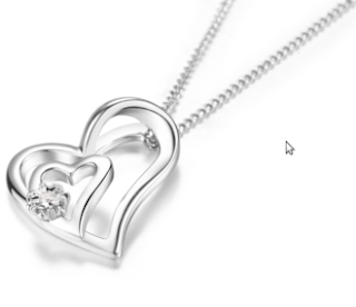 Birthday Gift for Girl Friend DOUBLE-R 0.01ct Real Diamond Pendants