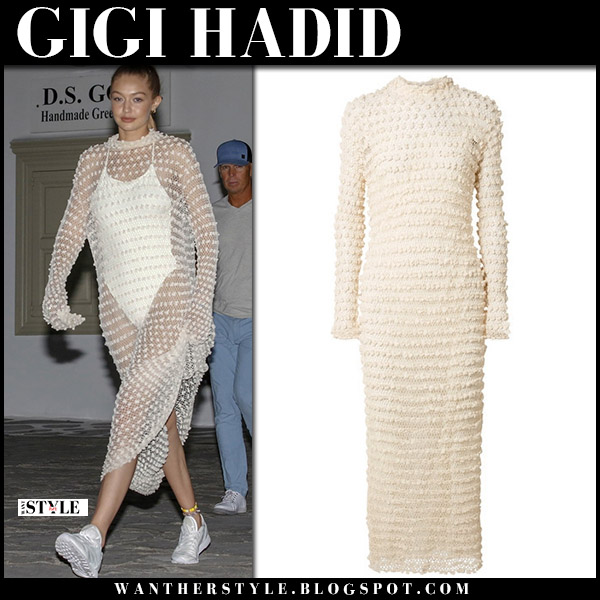 Gigi Hadid in cream sheer dress the row and white swimsuit model summer style june 29