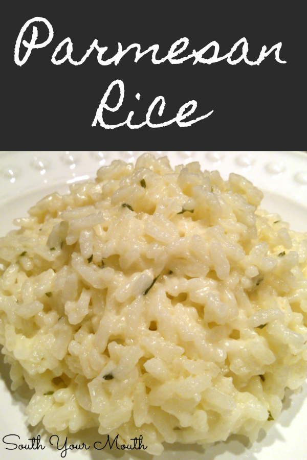 Creamy Parmesan Rice with garlic, butter and parmesan cheese. Like risotto but easy! #risotto #rice #garlic #parmesan #sidedish #easy