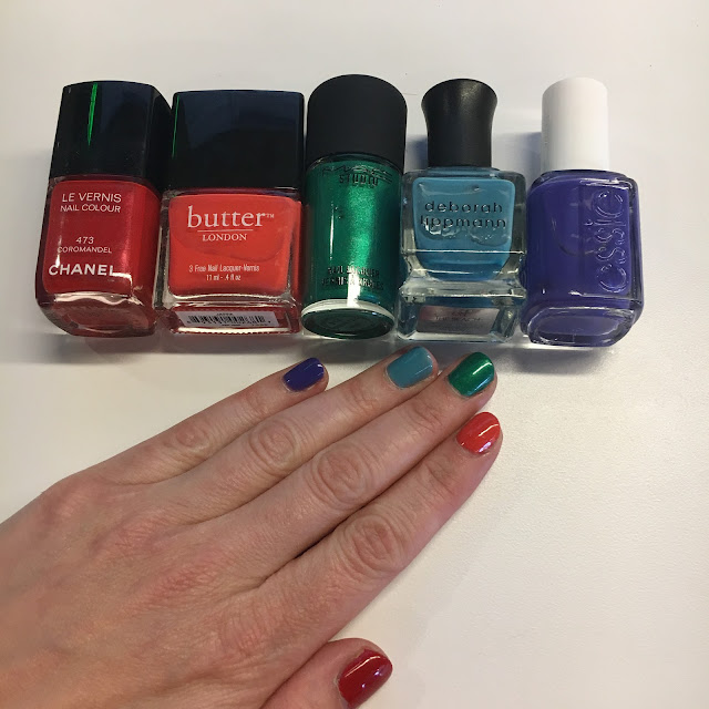 National Nail Polish Day, rainbow manicure, nail art, nails, nail polish, nail lacquer, nail varnish, Chanel Coromandel, butter LONDON Jaffa, M.A.C Cosmetics Style Matters, Deborah Lippmann On The Beach, Essie All Access Pass