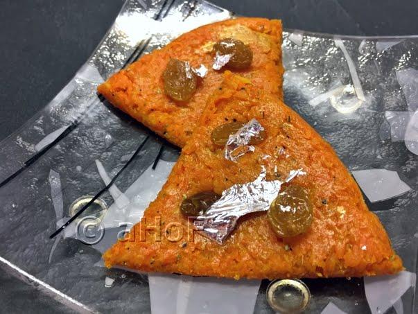 Gajar Burfi or Carrot Fudge with Edible Silver Leaf