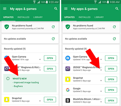 شرح طريقة معرفة التحديثات الجديدة للتطبيقات قبل تثبيتها
