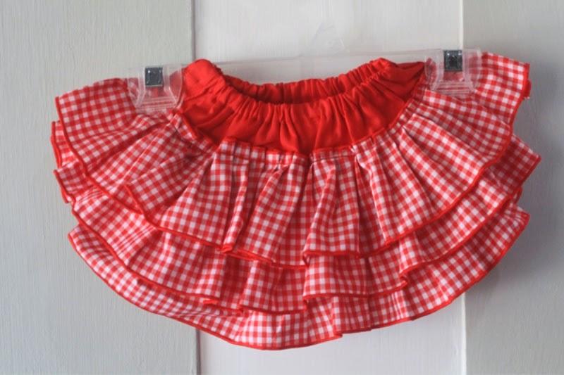 Contoh rok model tutu bahan katun warna merah untuk anak