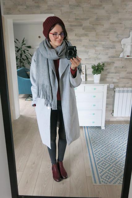 Winter outfit | Szary płaszcz
