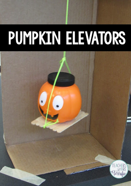 Pumpkin Elevators were a big hit in STEM class! Can students build a cranking and lifting device that will take a pumpkin to the top?