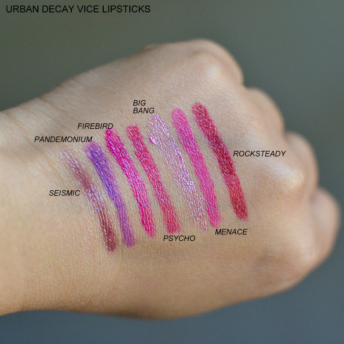 Urban Decay Vice Lipsticks - Swatches Seismic Pandemonium Firebird Psycho Big Bang Menace Rocksteady