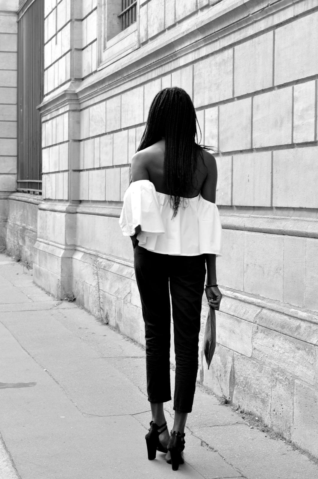 blog mode, bordeaux, blog mode bordelais, olivia, blogueuse bordelaise, blogueuse mode bordelaise, dressfo, tenue du jour, outfit, off shoulders blanc, top off shoulders, pantalon noir