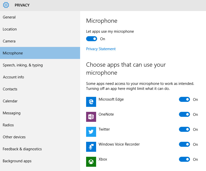 Keith johnson senior technical writer windows 10 privacy for Window privacy options
