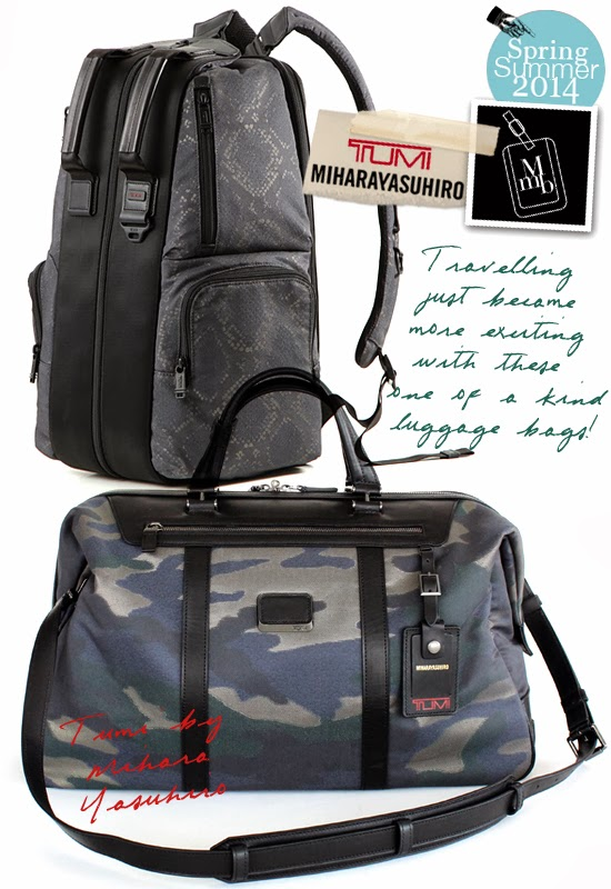 273f97a7162924 These new range of travel bags bears the Japanese designer's signature  python and camouflage print to add fashion relevance for the otherwise  boring brand.