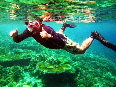 Menikmati keindahan terumbu karang di sini