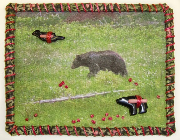Robin Atkins, Travel Diary Quilt, detail, black bear in Yellowstone National Park