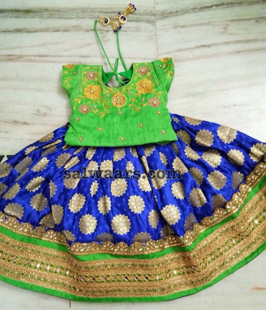 Blue Floral Silk Lehenga Green Blouse