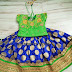 Blue Floral Silk Lehenga Green Blouse
