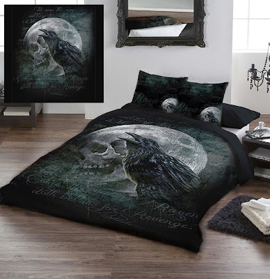 Alchemy Gothic S Raven Curse Bedding Features A Full Moon With Skull Face Huge Black Imposed Over It
