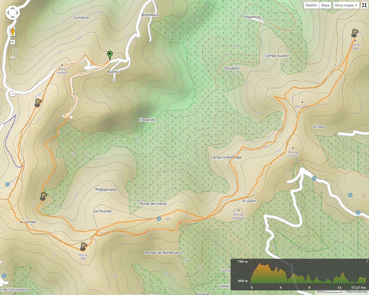 Mapa de la ruta Llan de Cubel y Cueto