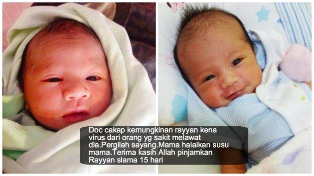 """Pergilah sayang... Mama halalkan susu mama. Terima kasih Allah pinjamkan Rayyan selama 15 hari"""