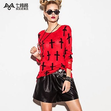 ladies red and black abstract designer sweater