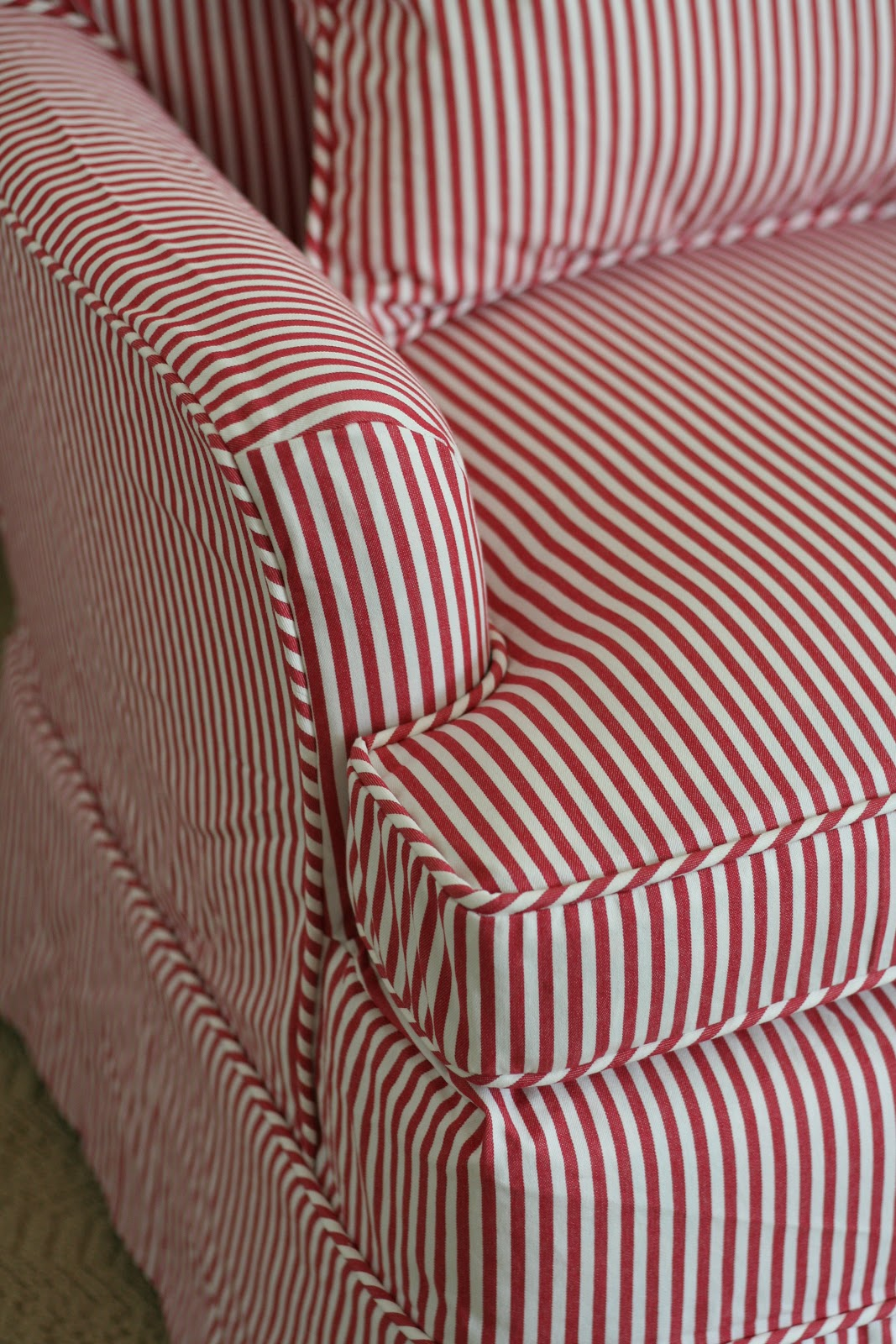 Red Striped Chair Custom Slipcovers By Shelley Red White Striped Chair